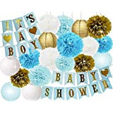 Baby Shower Decorations for Boy BABY SHOWER IT'S A BOY Bunting Banner Tissue Paper Pom Poms Paper Honeycomb Balls Paper Lanterns Blue/White/Gold Baby Boy Baby Shower Party Decorations