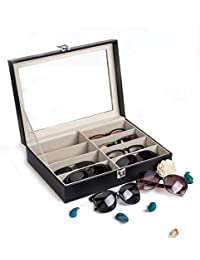 Leather Multi Sunglasses Organizer for Women Men, Eyeglasses Eyewear Display Case, Jewelry Watch Organizer, Sunglasses Jewelry Collection Case, Sunglass Glasses Storage Holder Box with 8 Slots