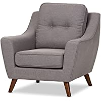 Baxton Studio Dalila Light Grey Fabric Upholstered Walnut Wood Button-Tufted Armchair