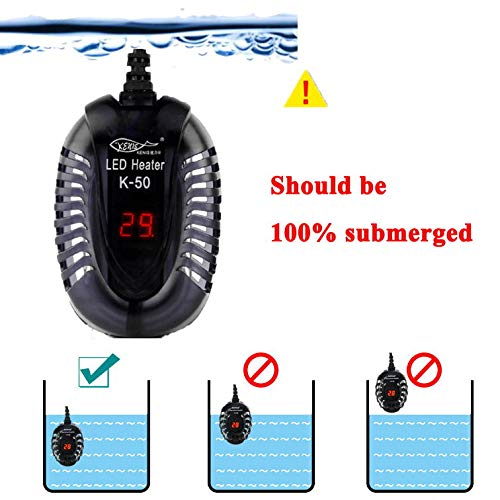 YCTECH Submersible Aquarium Heater (75Watt) with Adjustable Thermostat Intelligent LED Temperature Display for 1 to 15 Gallon Fish Tank by YCTECH (Image #4)