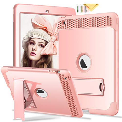 iPad 4 3 2 Case, Cookk [Honey Comb Series] [Kids Friendly] Heavy Duty Magnetic Stand 3-in-1 Shockproof Hybrid Protective Cover for iPad 4th 3rd 2nd Gen, Rosegold]()