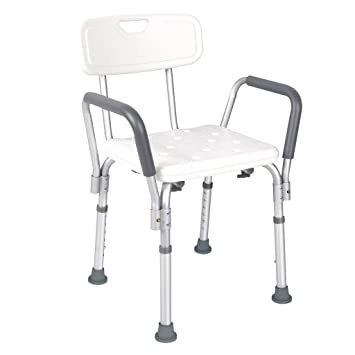 Amazon.com: JCMASTER Shower Chair with Back and Arms, Lightweight ...