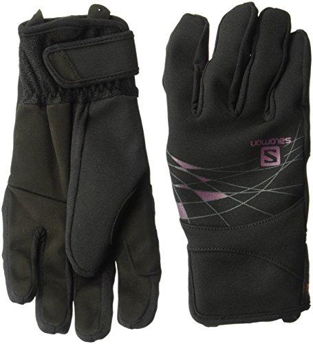 Salomon Women's RS Warm Gloves, Black/Fluo Coral, Medium (Salomon Ski Gloves)