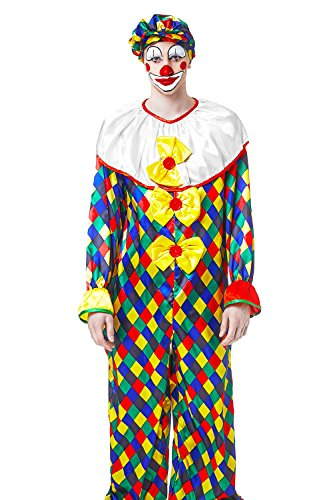 [Adult Men Mime Costume Clown Jumpsuit With Cap Circus Cosplay Entertainer Clothes (Medium/Large, Multicolor)] (Circus Themed Costumes For Men)