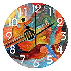 Dozili Chic Beautiful Painting Music and Rhythm Print Round Wall Clock Arabic Numerals Design Non Ticking Wall Clock Large for Bedrooms,Living Room,Bathroom