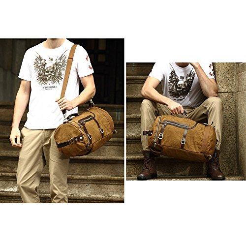 VRIKOO Retro Classic Cylinder Canvas Bagpack Women Men Travel Backpack Hiking Shoulder Bag Rucksack (Dark Green) Café