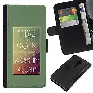 Planetar® Modelo colorido cuero carpeta tirón caso cubierta piel Holster Funda protección Para LG G2 D800 ( Tiempo Coin Conde Cartel montañas Teal )