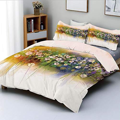 Duplex Print Duvet Cover Set Queen Size,Vogue Display Wisteria Violets Wreath Fragrant Plants Herbs ArtsyDecorative 3 Piece Bedding Set with 2 Pillow Sham,Multi,Best Gift for Kids & Adult