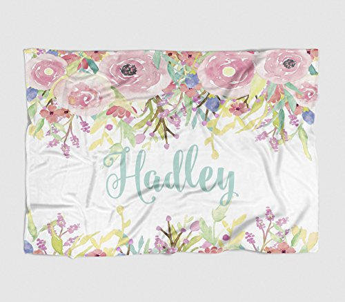 Personalized Baby Blanket - Watercolor Floral Drop - Frame - 30 X 40 - Plush Fleece Swaddle - Baby Girl Bedding - Cute Floral - Birth Announcement - Baby Shower Gift ()