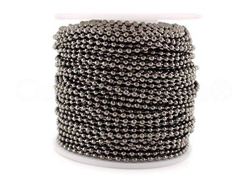 CleverDelights Ball Chain Roll - 100 Feet - Gunmetal (Dark Silver) Color - 2.4mm Ball - #3 Size - Bulk (Pendant Light 3 Tile)