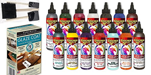 Unicorn SPiT Bundle - All 14 Colors (4oz Bottles), 1 Quart Famowood Glaze, 6 Foam Brushes, Exclusive Instruction Guide … (14 Paint Complete Kit) - Exclusive Foam