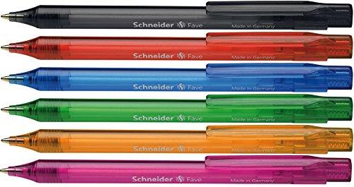 Schneider Fave Click-Top Ballpoint Pen, M, Blue, Barrel colour: assorted Schneider Top Ball