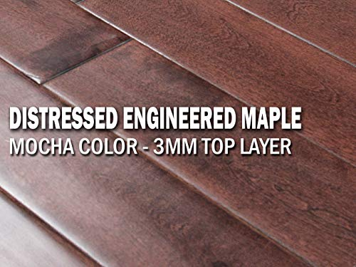 AMERIQUE Prefinished Engineered Distressed Hand-Scraped Hardwood Canadian Maple Flooring 9/16