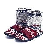 pestor Women's Mid Calf Boot Slippers Winter Warm Indoor Outdoor Slipper Snow Bootie Boots Shoe (L:8-10
