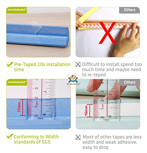 PRE-TAPED Edge & Corner Guards [16.4ft Edge Safety Bumpers+8 Corner Cushion]- Furniture Table Edge Corner Protector and Corner Guard for Baby Child Kids Safety- Extra Dense - 10s to install (Black) by mambabydad (Image #3)