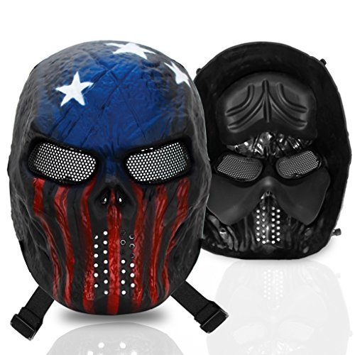 [Stargoods Skeleton AirSoft Mask - Metal Mesh Paintball, BB Gun & CS Games - America] (Deluxe Smoke Mask)