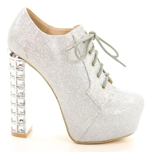 Sully's Phoenix01A Silver Glitter Women Lace Up Jeweled Encrusted Heel Platform Bootie-6 ()