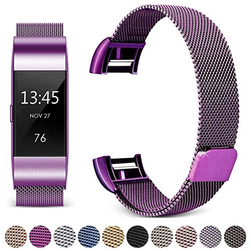 Hotodeal for Fitbit Charge 2 Bands, Band Milanese Loop Stainless Steel Magnet Metal Replacement Bracelet Strap, Wristbands Accessories for Women Men, Purple