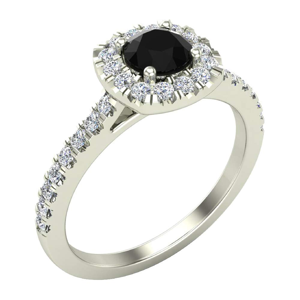 Black & White Diamond Cushion Halo Engagement Ring 1.35 Carat Total Weight in 14K White Gold (Ring Size 9)