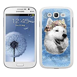 Funda carcasa para Samsung Galaxy Grand NEO diseño perro con corona de flores fondo azul borde blanco