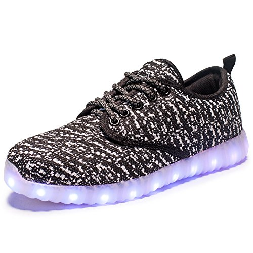 SUDILO LED Light Up Shoes for Men and Women, 7 Color Changable Patterns, Rechargable Light Up Sneakers Bk_40