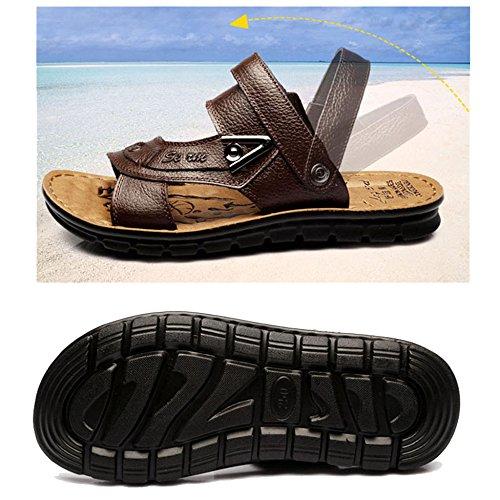 All'aria Moda Piscina Uomo Da Da Per Vacanza Aperta Da Pantofola Pelle Pantofole Ciabatte Trekking Vera MERRYHE Brown Scarpe In Da Spiaggia Spiaggia Escursionismo Da Pantofole HwPFqnBR7v