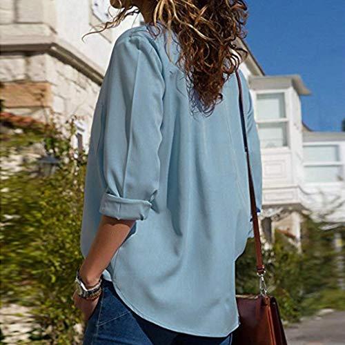 Col Manches Shirts Femmes V T MuSheng Poches Automne Solides Dcontract Blouse Longues Bleu Tops en WqXnatRw