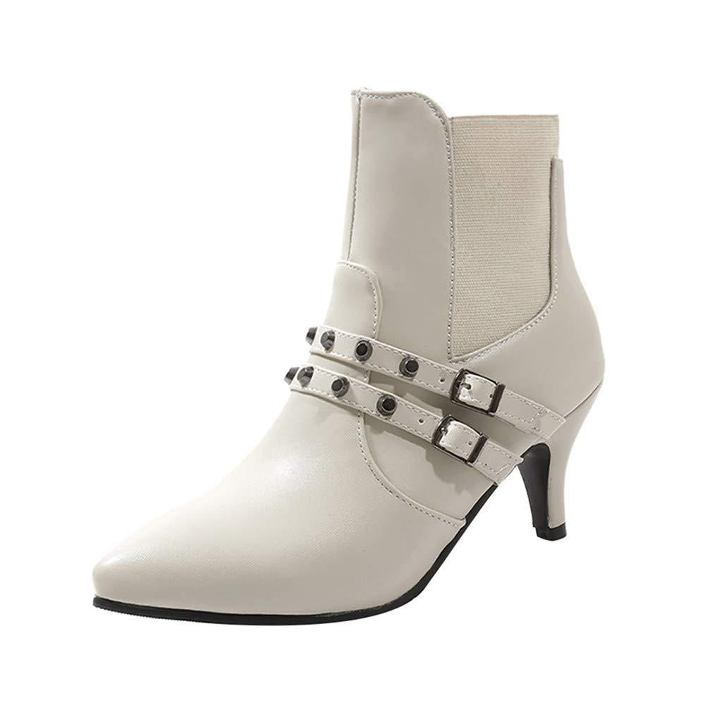showsing Femmes Chaussures Sauvages Bottes Boucle de Ceinture Simples Rivet Stiletto Bottines