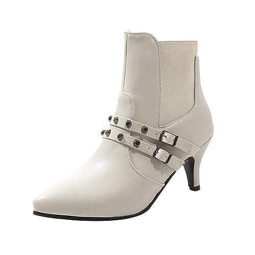 e899e1e624009b Femme Escarpin,Chaussures Sauvages pour Femmes Bottes Boucle de Ceinture  Chaussures Simples Rivets Stiletto Bottines