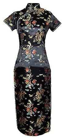 7Fairy Mujer Negro Vendimia Chino Fiesta Vestido Cheongsam Largo Dragón Tamaño ES 38