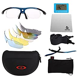XQ-XQ Polarized UV Protection Sports Glasses Outdoor Wrap Sunglasses with 5 Interchangeable Unbreakable Lenses for Riding Driving Fishing Running Golf and Other Outdoor Activities - Red