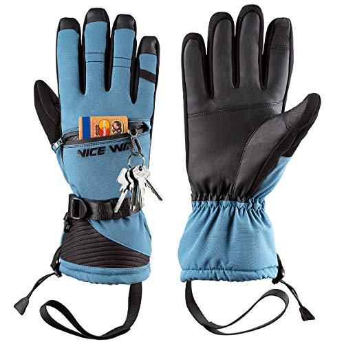 Winter Ski Gloves Men Women - Windproof Warm Touch Screen Design for Outdoor Sports Skiing Snowboarding Shoveling Snow Blue XL