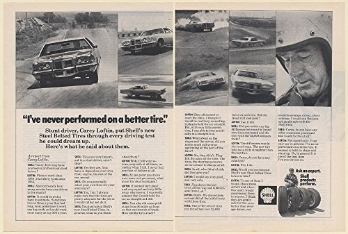 1972 Limit Driver Carey Loftin Shell Steel Belted Tires Driving Test 2-Page Print Ad (64348)