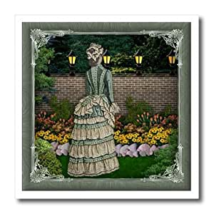 ht_167137_3 Spiritual Awakenings-Vintage - Victorian Lady in the garden with lamp poles lit and pretty frame - Iron on Heat Transfers - 10x10 Iron on Heat Transfer for White Material