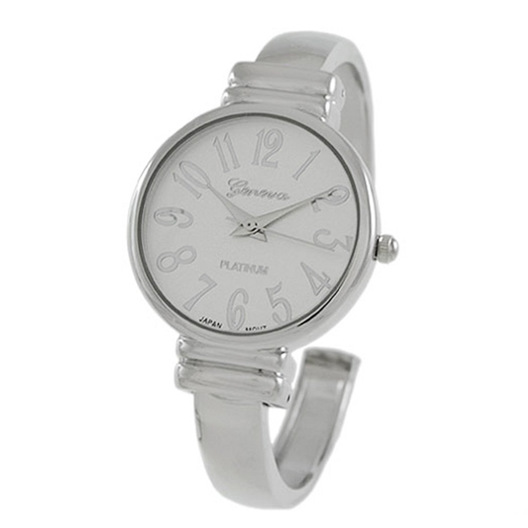Rosemarie Collections Women's Large Numeral Metal Cuff Watch (Silver Tone)