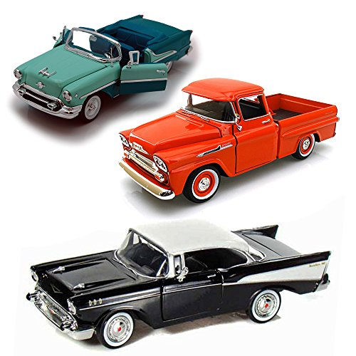 Best of 1950s Diecast Cars - Set 5 - Set of Three 1/24 Scale Diecast Model (1950s Chevy Cars)