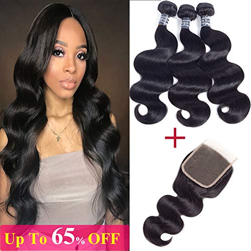 Amella Hair 10A Brazilian Body Wave Virgin Hair Bundles with Closure(12 14 16+12 Free Part Closure) 100% Unprocessed Brazilian Human Hair Bundles With Closure Natural Color Wet and Wavy Hair Extension