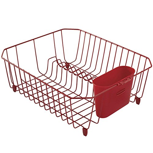 Microban Dish - Rubbermaid Antimicrobial Dish Drainer, Small, Red 1858899