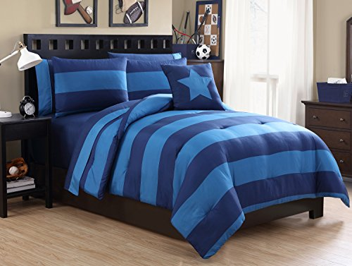 Full Size BED-IN-A-BAG Reversible in Navy / Blue Color Blocked 8 Pc Set w/ Sheets (Full A Bag Size Bed In Sets)