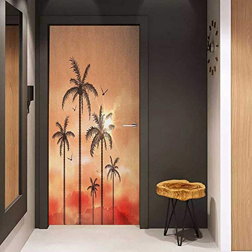 Palm Tree Door Knocker - Onefzc Wood Door Sticker Tropical Palm Trees with Dramatic Hazy Sky Clouds and Gulls Exotic Display Art Easy-to-Clean, Durable W38.5 x H79 Coral Salmon Brown