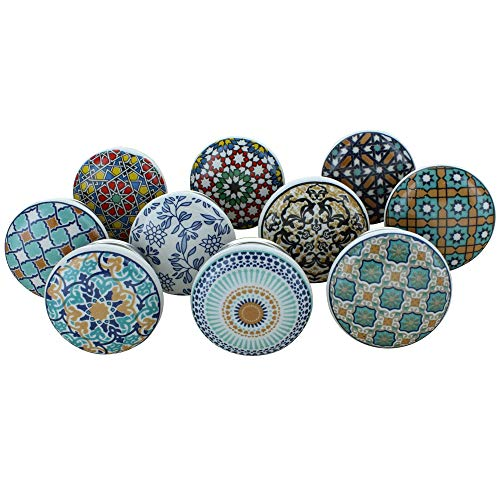 G Decor England Set of 10 Positive Energy Ceramic Door Knobs Contemporary Cabinet Pulls for Cabinets, Drawers and…