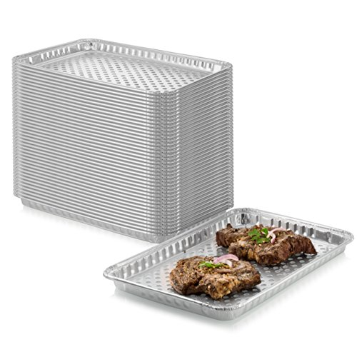 "12-Pack Disposable Aluminum Foil BBQ Grill Topper Pan – Prevents Food from Falling into the Grill or Sticking to the Grate – No Clean Up Required – Perfect for Camping and Outdoor Use - 15"" x10"" x1.5"""