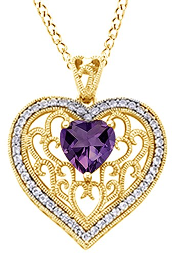 AFFY Heart Cut Simulated Amethyst Filigree Heart Pendant in 14K Gold Over Sterling Silver