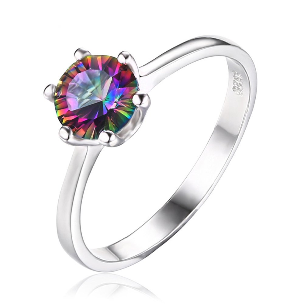 T-Ring 925 Sterling Silver Mystic Fire Rainbow Topaz Ring Fine Jewelry for Women Wedding Rings
