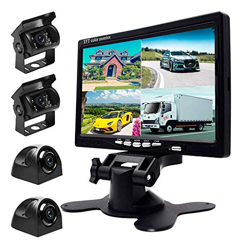 - Podofo 9V-24V Car Backup Camera Kit, 7 Inch HD Quad Split Monitor + 4 x Waterproof IR Night Vision Front Rear Side View Cameras and 33ft AV Cables, Mirror/Normal Image