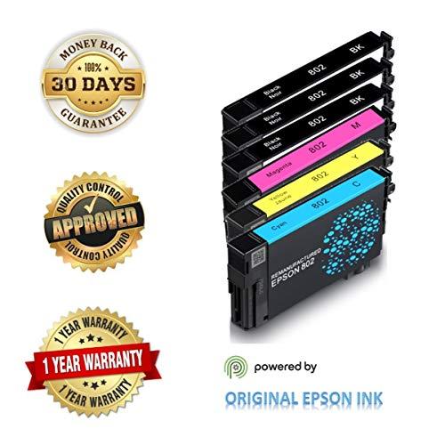 Epson 802 Ink Cartridges (Re-Manufactured/Repackaged), Works for Epson WF-4720 WF-4730 WF-4734 WF-4740 Printers, Standard Plus Capability (6-Pack Standard Plus, 3 BK, C, M, Y)