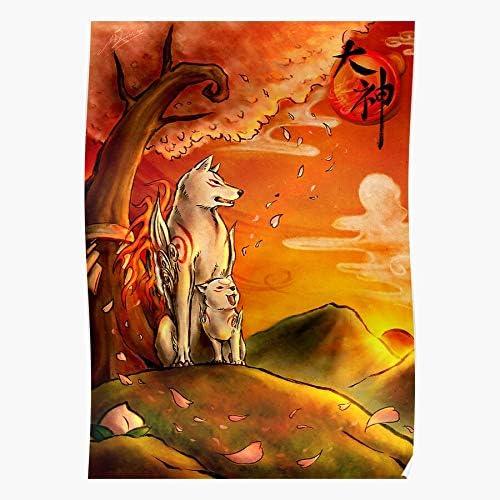 Revolve Tranditional Chinese White Okami Ink Japan Cute Wolf Beeindruckende Poster für die Raumdekoration, gedruckt mit modernster Technologie auf seidenmattem Papierhintergrund