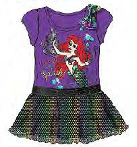 [Disney The Little Mermaid Ariel Baby Girls Dress with Sequins Flounce - Purple] (Ariel Dress For Adults)