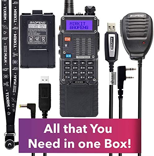 Extra Pack Mirkit BaofengRadio UV-5R MK5 8 Watt MP Max Power with 3800 mAh, Handheld Speaker Mic, Baofeng Programming Cable and Software – Extended Kit