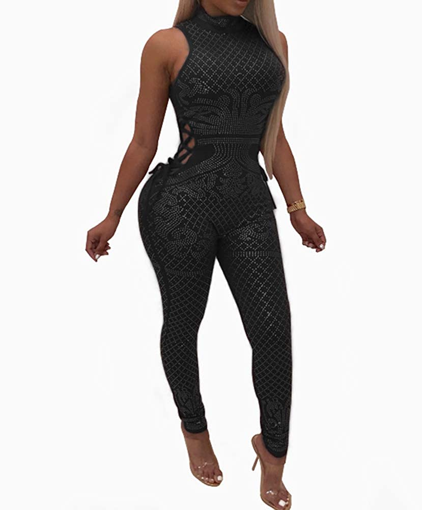 Black2 Nhicdns Womens Sexy Rhinestone See Through Jumpsuit Bodycon Halter Neck Backless Romper Club wear